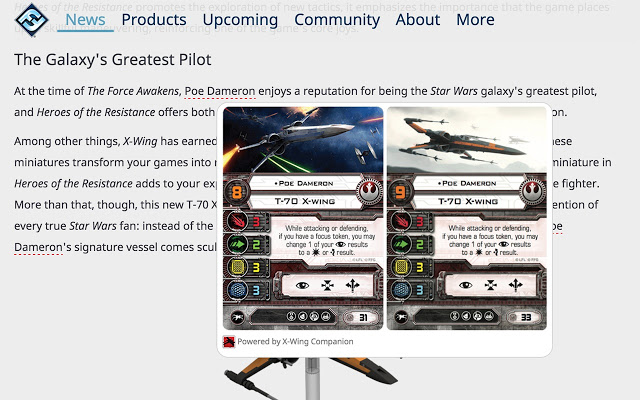 X-Wing Companion Card View...